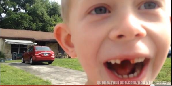Vater zieht seinem Sohn den Zahn – mit 432-PS-Auto